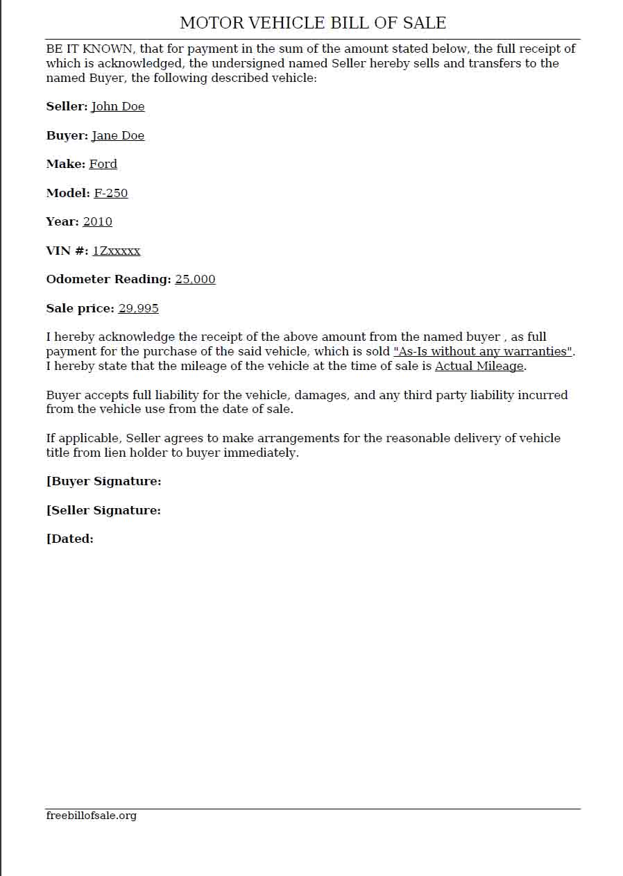 View Sample of Vehicle Bill of